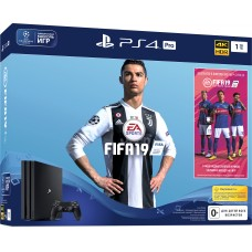PlayStation 4 Pro Bundle (1 Tb, FIFA 19, черный), 223208, Консоли